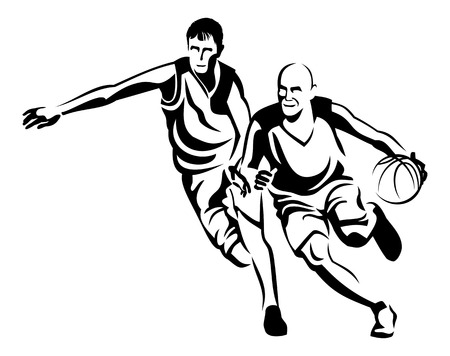 Two basketball players silhouettes. Vector clip art.