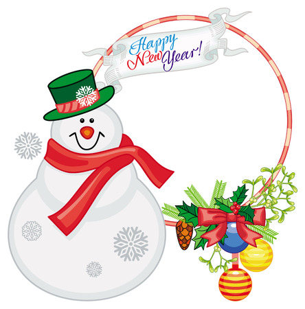 Round frame with Christmas decorations and snowman. Christmas design element. Vector clip art.