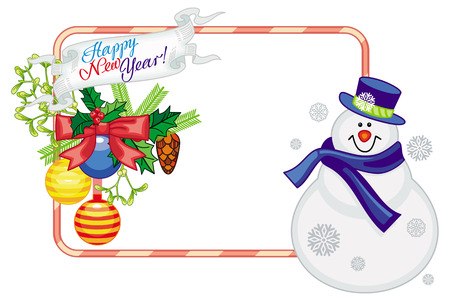 Horizontal frame with Christmas decorations and snowman. Christmas design element. Vector clip art.