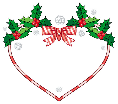 Heart-shaped frame with Christmas decorations. Holiday design element. Vector clip art. Illustration
