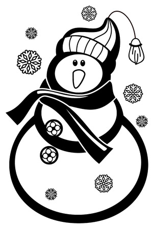 Contour snowman and snowflakes a white background. Coloring page for children and adults. Black and white. Vector clip art.