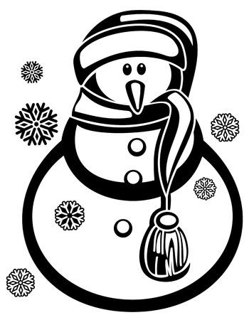 Muñeco De Nieve Y Copos De Nieve Contorno Un Fondo Blanco. Dibujo ...
