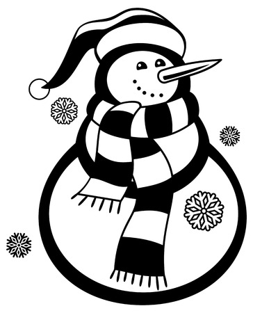 wintery: Contour snowman and snowflakes a white background. Coloring page for children and adults. Black and white. Vector clip art.
