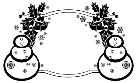 frosty: Black and white frame with funny snowman, holly berries and pine cones silhouettes. Copy space. Vector clip art.