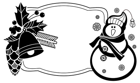 Black and white frame with funny snowman, holly berries and pine cones silhouettes. Copy space. Vector clip art.