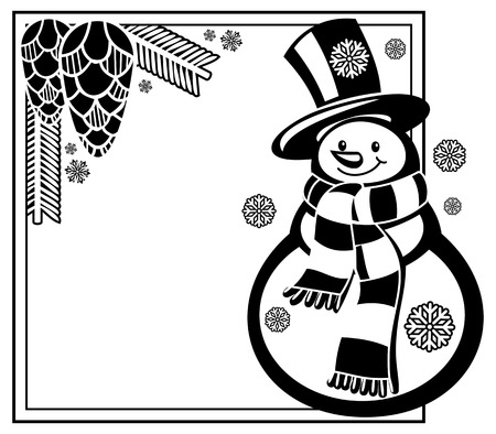 Black and white frame with funny snowman and pine cones silhouettes. Copy space. Vector clip art.