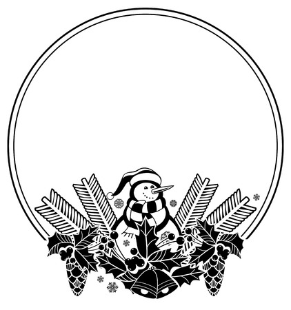anti season: Black and white round frame with funny snowman, holly berries and pine cones silhouettes. Copy space. Vector clip art. Illustration