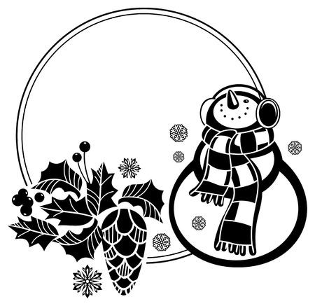 Black and white round frame with funny snowman, holly berries and pine cones silhouettes. Copy space. Vector clip art. Illustration