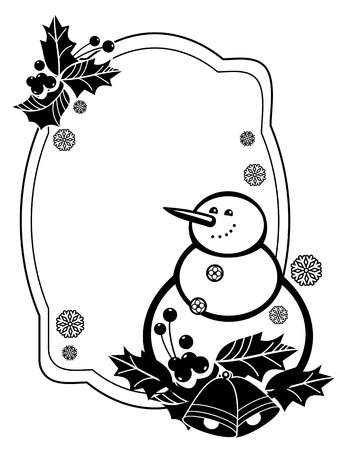 anti season: Black and white frame with funny snowman and holly berries silhouettes. Copy space. Vector clip art.