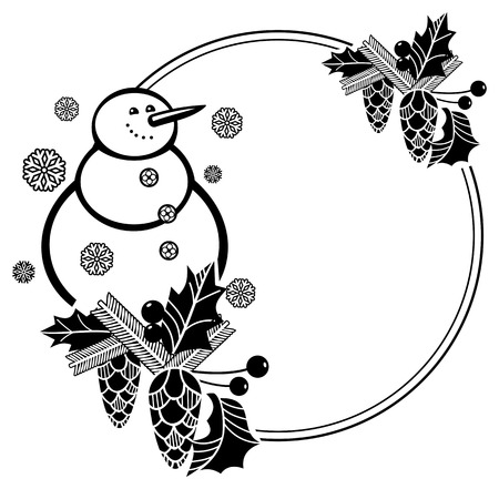 wintery: Black and white round frame with funny snowman, holly berries and pine cones silhouettes. Copy space. Vector clip art. Illustration