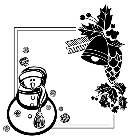 anti season: Black and white frame with funny snowman, holly berries and pine cones silhouettes. Copy space. Vector clip art.