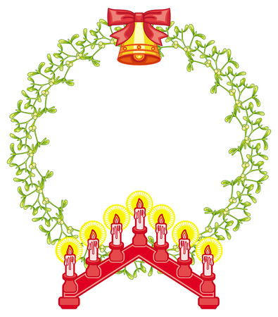 Round frame in shape of wreath with mistletoe and light candle arch. Copy space. Christmas decoration. Vector clip art.