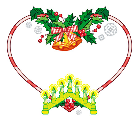 advent candles: Heart-shaped frame with Christmas decorations and light candle arch. Holiday design element. Vector clip art.