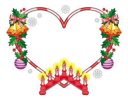 heartshaped: Heart-shaped frame with Christmas decorations and light candle arch. Holiday design element. Vector clip art.