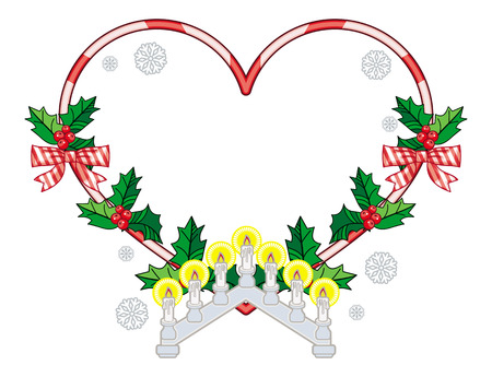 Heart-shaped frame with Christmas decorations and light candle arch. Holiday design element. Vector clip art.