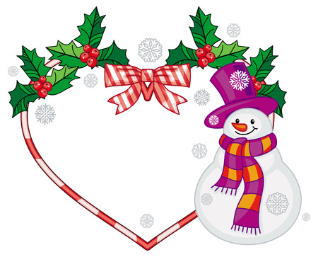Heart-shaped frame with Christmas decorations and smiling snowman in funny hat. Holiday design element. Copy space. Vector clip art. Illustration
