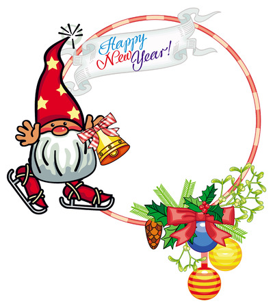 Round holiday frame with little gnome and Christmas ornament. Ice skating. Copy space. Vector clip art. Illustration