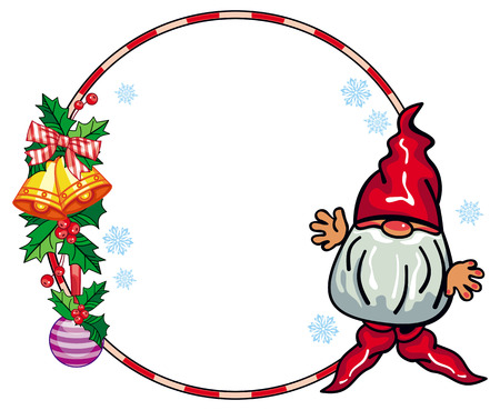 Round holiday frame with little gnome and Christmas ornament. Copy space. Vector clip art.