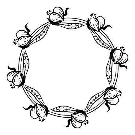 Round black and white frame outline decorative flowers copy round black and white frame outline decorative flowers copy space vector clip art mightylinksfo
