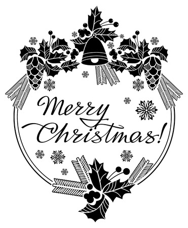 decorative line: Round Christmas label with holiday decorations and written greeting Merry Christmas!.  Vector clip art.