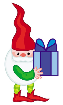 Funny gnome with boxes of presents. Cute character for Christmas decorations, greetings cards and other design artworks. Vector clip art.