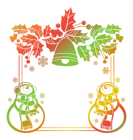 Gradient frame with funny snowman, holly berries and Christmas bells  silhouettes. Winter holidays background. Copy space. Raster clip art. Stock Photo