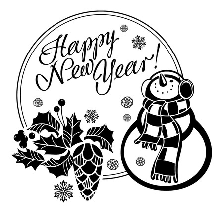 vector holiday label with funny snowman and written greeting happy new year vector clip art