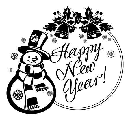 Holiday label with funny snowman and written greeting Happy New Year!. Vector clip art.