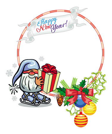 dwarf christmas: Holiday round frame with decorations and funny gnome. Copy space. Christmas background. Vector clip art. Illustration