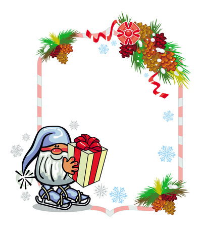 Holiday frame with decorations and funny gnome. Copy space. Christmas background. Vector clip art. Illustration