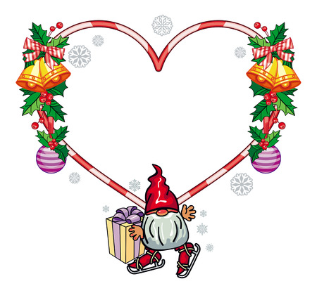 dwarf christmas: Holiday heart-shaped frame with decorations and funny gnome. Copy space. Christmas background. Vector clip art.