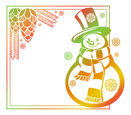 Gradient frame with funny snowman, holly berries and pine cones silhouettes. Winter holidays background. Copy space. Raster clip art.