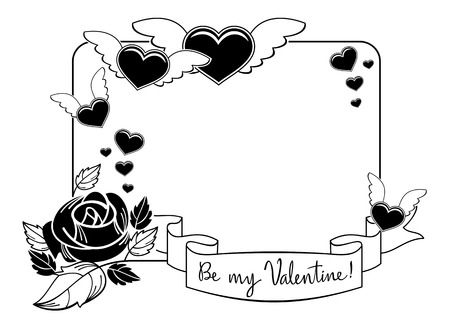Black and white silhouette frame with roses and flying heart. Valentine day background. Vector clip art. Illustration