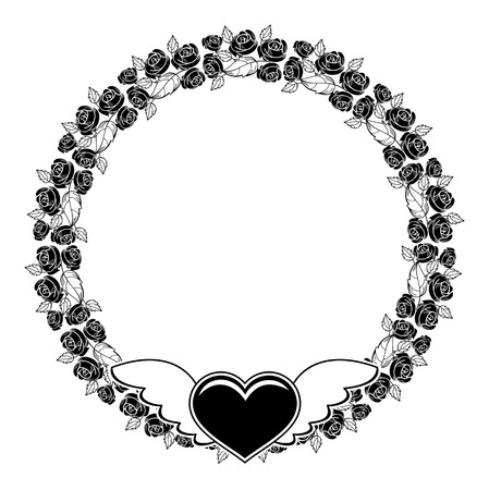 Black and white round silhouette frame with roses and flying heart. Valentine day background. Vector clip art. Illustration