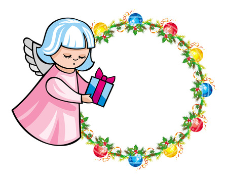 bring: Round holiday garland with ornaments and angels bring presents. Christmas frame with free space for text, photo or picture. Design element for New Year decorations. Vector clip art.