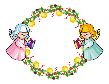 Round holiday garland with ornaments and angels bring presents. Christmas frame with free space for text, photo or picture. Design element for New Year decorations. Vector clip art.