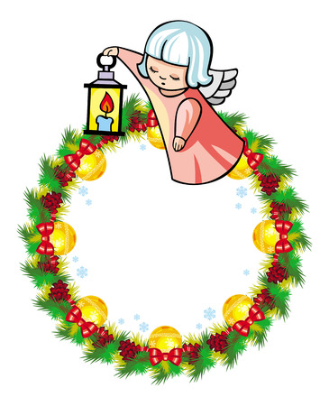 Round holiday garland with ornaments and little flying angel. Christmas frame with free space for text, photo or picture. Design element for New Year decorations. Vector clip art.
