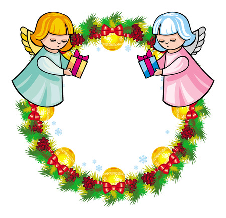 Round Holiday Garland With Ornaments And Angels Bring Presents