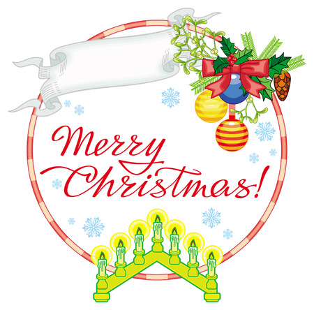 Round label with Christmas bells, light candle arch and artistic written text: Merry Christmas!. Christmas background. Vector clip art. Illustration