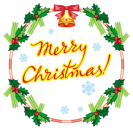 Round label with Christmas bells and artistic written text: Merry Christmas!. Christmas holiday background. Vector clip art. Illustration