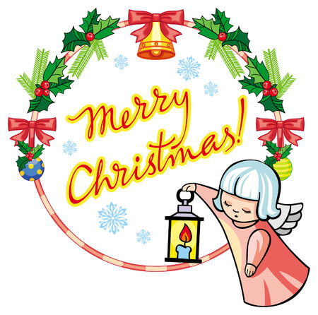 Christmas label with angels and artistic written text: Merry Christmas!. Christmas holiday background. Vector clip art. Illustration