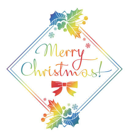 Winter holiday label with greeting text Merry Christmas!. Design element for advertisements, web, greeting cards and other graphic designer works. Raster clip art.