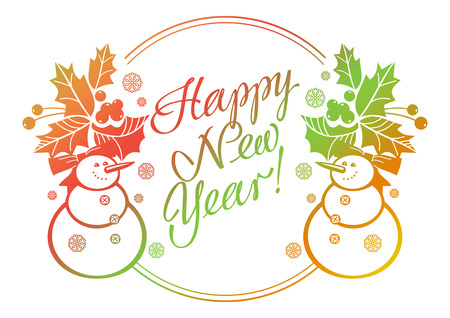 Holiday label with funny snowman and written greeting Happy New Year!. Raster clip art. Stock Photo