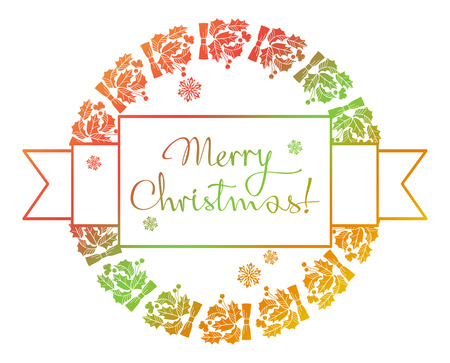 Christmas round label with holiday decorations and written greeting Merry Christmas!. Raster clip art. Stock Photo