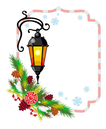 Winter holiday frame with vintage lanterns and Christmas decorations. Copy space.  Design element for advertisements, web, greeting cards and other graphic designer works. Vector clip art.