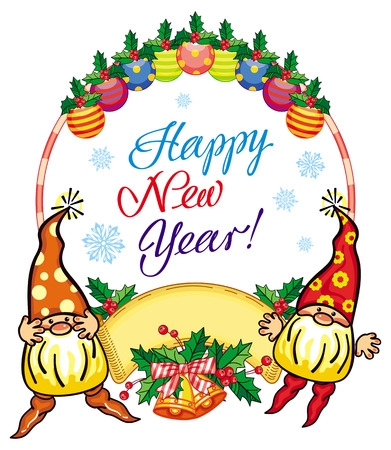 Holiday round label with Christmas decorations, funny gnomes  and greeting text Happy New Year!. Vector clip art.