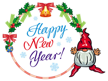Holiday round label with Christmas decorations, funny gnome and greeting text Happy New Year!. Vector clip art.