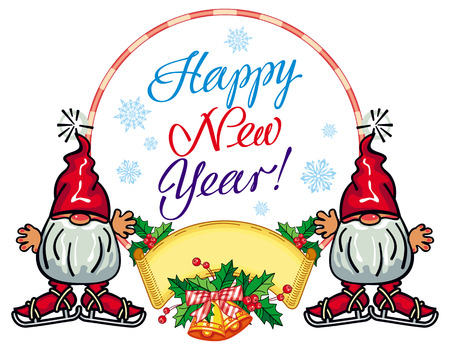 dwarf christmas: Holiday round label with Christmas decorations, funny gnome and greeting text Happy New Year!. Vector clip art.