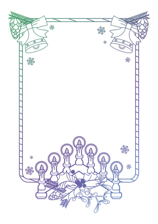 advent candles: Christmas frame with holly berry, pine cones and Advent candles. Copy space. Raster clip art.