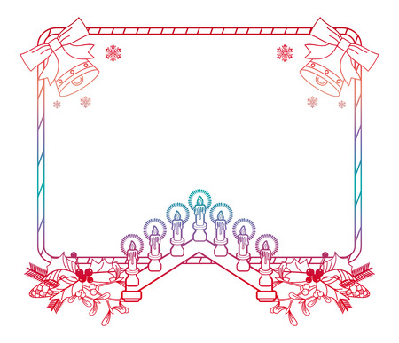 candleholder: Christmas frame with holly berry, pine cones and Advent candles. Copy space. Raster clip art.